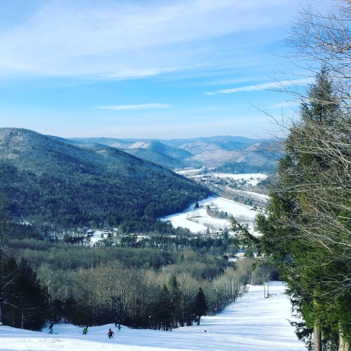 The view from the top of Berkshire East ski mountain, and the view from the top of the last descent of the skimo race